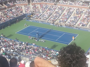 Roger Federer is the little figure in the blue lol
